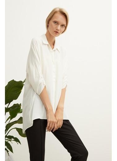Love My Body 3/4 Kol Büzgülü Bluz Beyaz